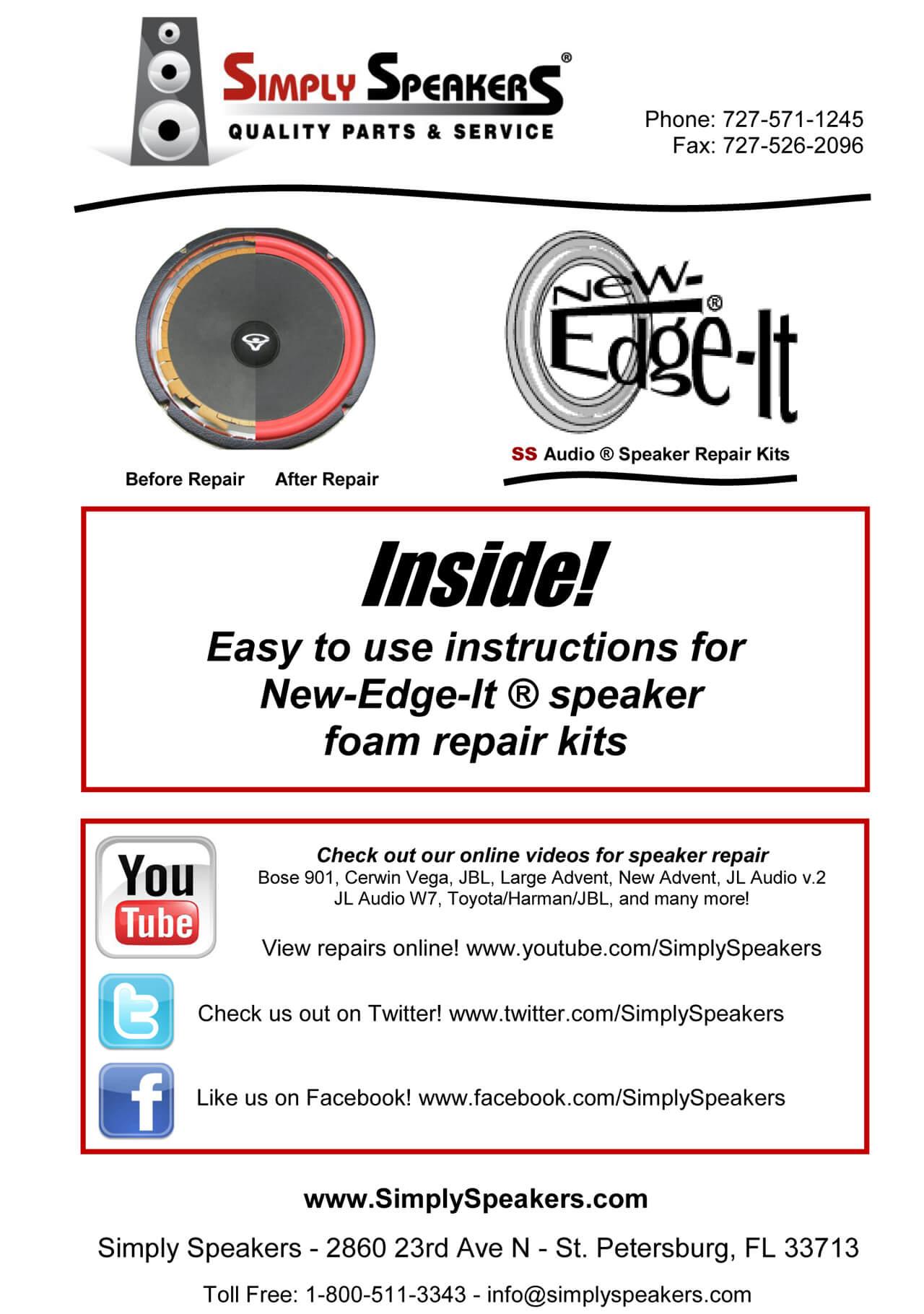 6838 Woofer Repair Kit FSK-5S Lexus SC-430 Mark Levinson Rear Speaker 6760