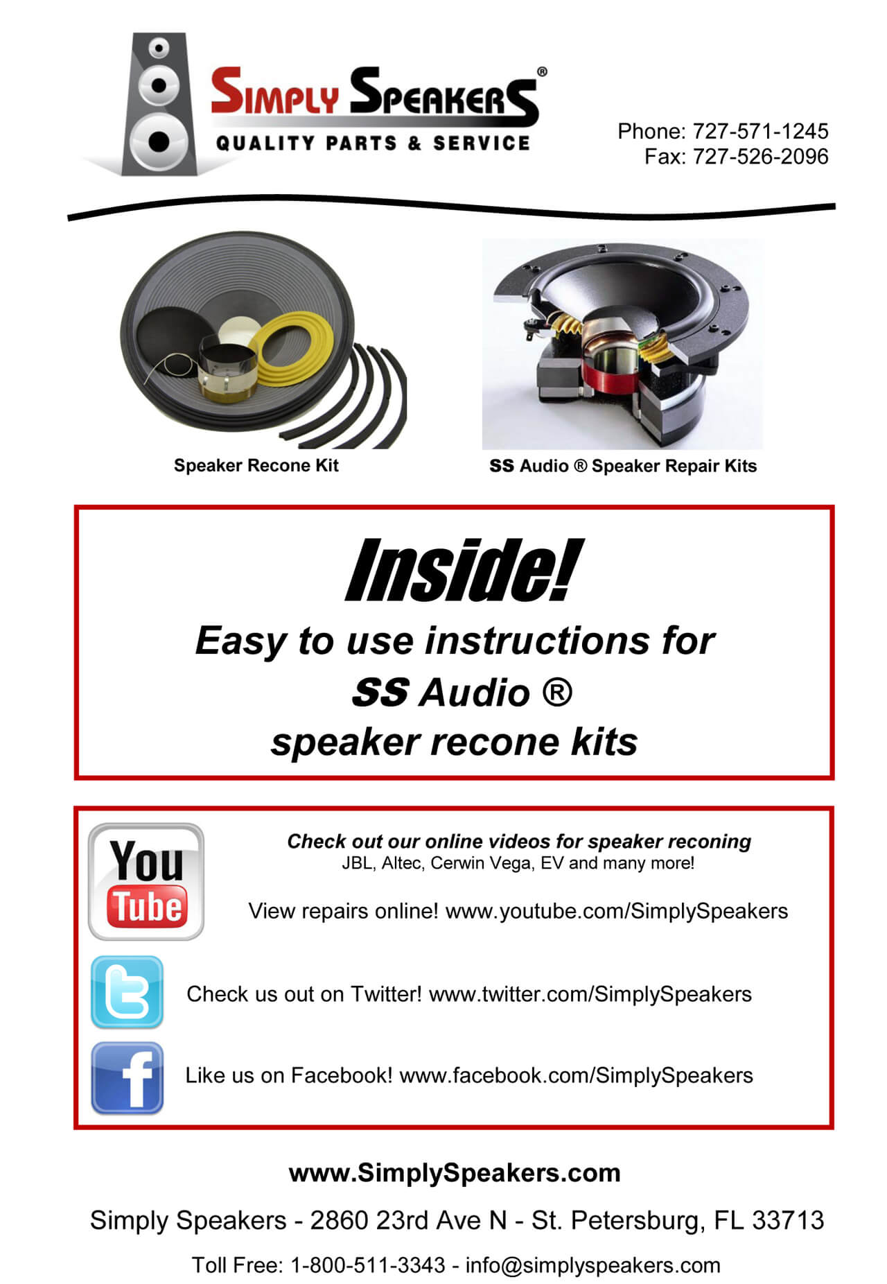 Details about SS Audio Recone Kit for 15